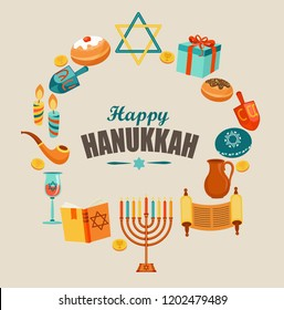 Happy Hanukkah card template or banner or flyer with traditional Chanukah symbols - wooden dreidels, Hebrew letters, donuts, menorah candles, oil jar, star David. Raster copy illustration.