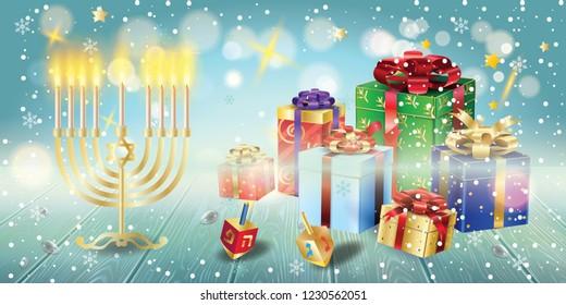 Happy Hanukkah Gifts banner traditional Jewish Holiday Hanuka festival of lights symbols. Chanukah menorah, candelabrum & candles wood dreidel, chanuka presents on wood table, bokeh lights, copy space