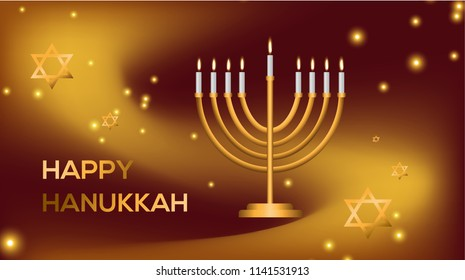 Happy Hanukkah! Jewish holiday. Greeting card with a holiday of light. Judaism.