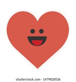 Happy Heart Cartoon Illustration Isolated