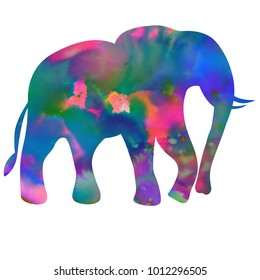 Happy Holi colorful background. Bright colors. Indian holiday. Silhouette of elephant