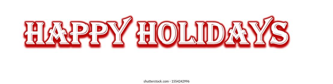 Happy Holidays Text (White Background)