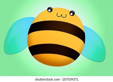 Happy honey bee art on green background