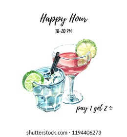 Happy hour hand drawn watercolor illustration with two cocktails. Cosmopolitan and moscow mule fresh cocktails garnished with lime, top front view.
