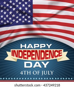 Happy Independence day background and badge logo with US flag 4th of July
