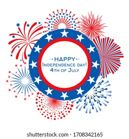 Happy Independence Day card with fireworks. 4th July banner template
