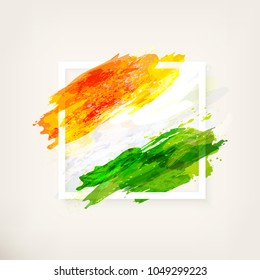 Happy Indian Independence Day celebration - 15th August. Creative watercolor background in frame. Hand drawn watercolor flag. Template for design, card, brochure, banner, flyer.