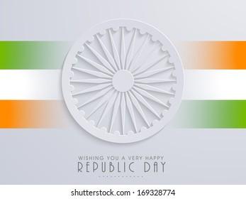 Happy Indian Republic Day concept with stylish Ashoka Wheel on national flag colors stripes background.
