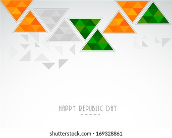 Happy Indian Republic Day concept with national flag colors triangles on grey background.