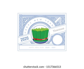 Happy Iranian New Year. Nowruz. Greeting card for your design, green grass on the center and one of the 7 symbols of iranian new year. 3d illustration. 3d rendering.