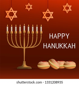 Happy jewish hanukkah concept background. Realistic illustration of happy jewish hanukkah concept background for web design