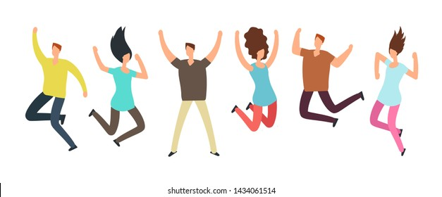 Happy jumping adult friends. Group of people in jump. Healthy active people and friendship concept. People adult, friend emotion, man and woman illustration