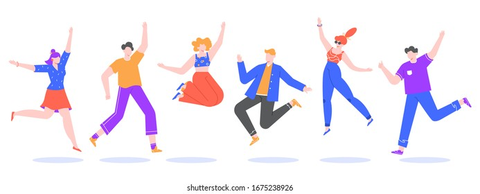 Happy jumping young people. Excited student characters, happy teenagers and joyful people jumped together, happy jumping team isolated  illustration. Faceless dancing human pack in flat style