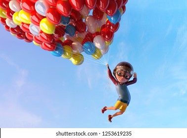 Happy kid boy having fun flying up with air ballons. Funny child cartoon character of little boy with vintage aviator glasses and helmet. Freedom and happy childhood concept. Clipping path. 3D render