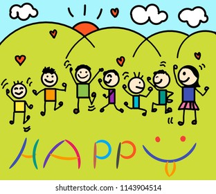 Happy kids dancing together during a sunny day with sun cloud and hearts.