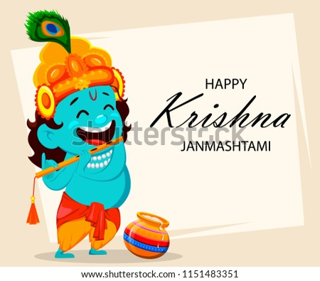 Happy krishna janmashtami greeting card funny stock illustration happy krishna janmashtami greeting card funny cartoon character lord krishna indian god plays the flute m4hsunfo