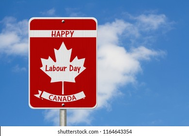 Happy Labour Day Highway Sign, Canadian highway sign and text Happy Labour Day Canada with sky 3D Illustrationbackground