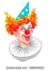 Happy laughing clown face. Ink and watercolor illustration