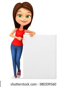 Happy little girl on a white background. 3D Illustration for advertising.