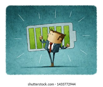 happy man with his arms raised because he just charged his battery. concept of strength and success. illustration