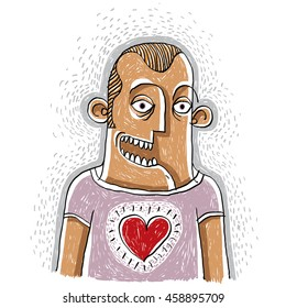 Happy man in love conceptual illustration, male smiling. People positive expressions. Hand-drawn man with a heart symbol, kindness allegory.