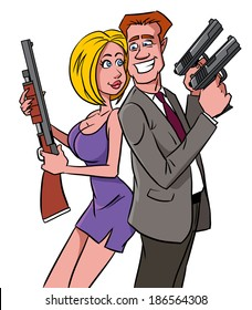 Happy man and woman with guns