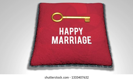 Happy Marriage concept animation 3D render illustration
