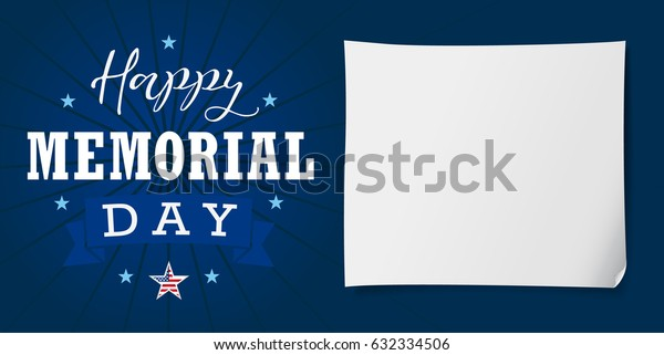 Happy Memorial Day USA lettering banner. Happy Memorial Day USA hand lettering card, star, ribbon, stripes and paper on dark blue background