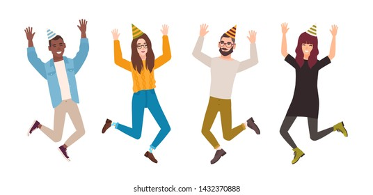 Happy men and women celebrating birthday, anniversary or holiday. Joyful jumping people wearing party hats. Flat male and female cartoon characters isolated on white background. illustration.
