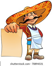 Happy Mexican cook holds in hand a blank sheet of paper.