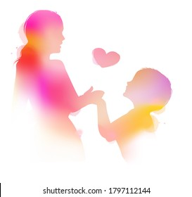 Happy mom with her child silhouette plus abstract watercolor painting. Mother's day. Digital art painting. Double exposure.