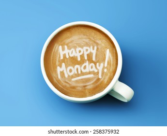 Happy Monday Coffee Cup Concept isolated on cyan background