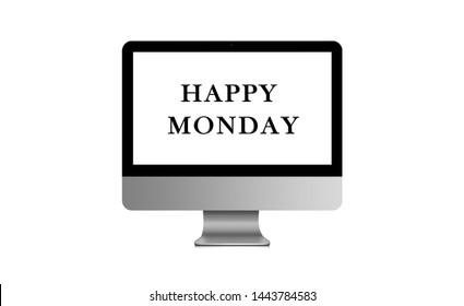 Happy Monday on modern laptop 3D illustration business icon