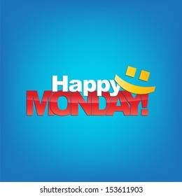 Happy Monday with a smile face. Typography background. (Raster)