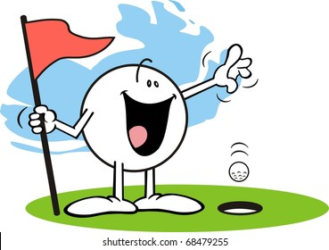 Happy Moodie Character Golfing A Hole In One