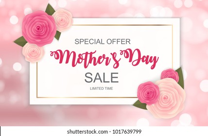 Happy Mother s Day Cute Sale Background with Flowers.  Illustration