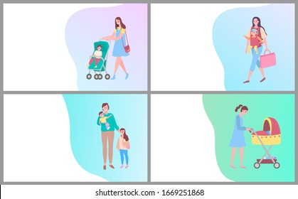 Happy motherhood raster, woman walking with kid sitting in perambulator, mother and child. Care for children, mom and pram, daughter and woman. Website or webpage template, landing page flat style