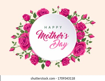 Happy mother's day card. RASTER greeting card for social media, online stores, poster, flyer, banner. Handwritten text of happy mother's day. A vignette of beautiful pink roses, leaves and flower buds