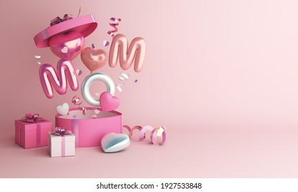 Happy mothers day decoration background with gift box, balloon, mom text, copy space text, 3D rendering illustration