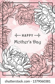 Happy Mother's Day greetings card. Romantic flower illustration. Peonies bouquet.