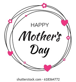 Happy Mother's Day hand drawn typographic lettering with scribble circle isolated on white background with pink hearts and flowers.  Raster Illustration of a Mother Day card.