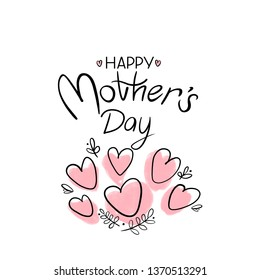 Happy Mother`s Day handwriting greeting with pink hearts  and graphic leaves on white background.