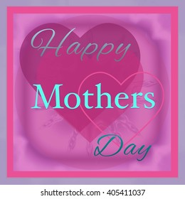Happy Mothers Day illustration with pink hearts