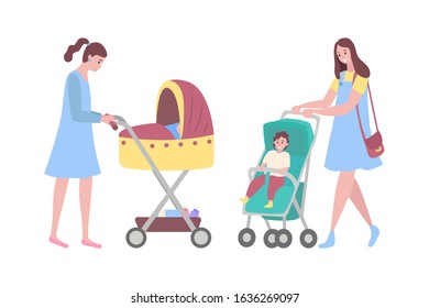 Happy mothers raster, woman with perambulators, kids sitting in pram flat style. Parent of boy sitting in carriage, lady walking with sleeping baby