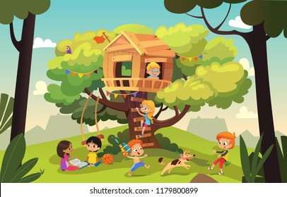 Happy multiracial boys and girls playing and having fun in the treehouse, kids playing with dog, and watering gun, reading book and climb ladder in the neighborhood. Detailed  Illustration