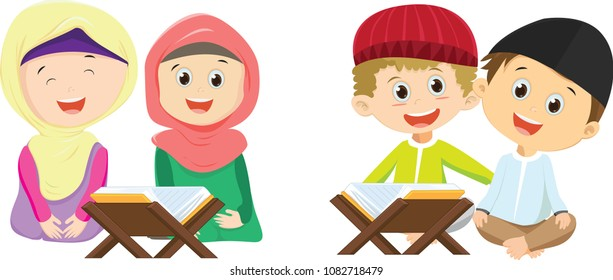 happy Muslim boys and girls reading Quran together