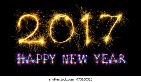 HAPPY NEW YEAR 2017 from colorful sparkle on black background