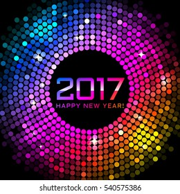 Happy New Year 2017 - colorful disco lights background