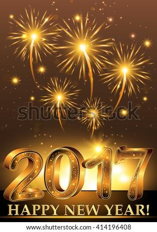 Happy New Year 2017 Elegant Background Stockillustration 414196408