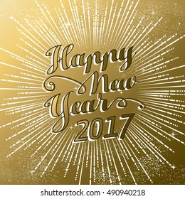 happy new year 2017 gold background with text quote and firework explosion luxury holiday greeting